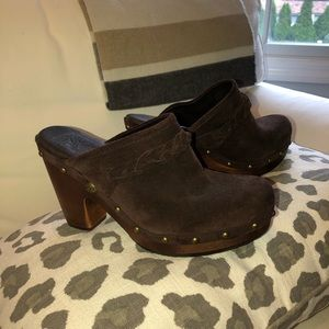 UGG Brown Suede Fur-Lined Clogs